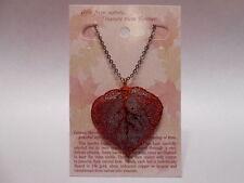 "Real Leaf Metal Filigree Necklace - Copper Iridescent Aspen Pendant w/ 20"" Chain"