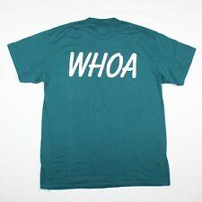 Vintage 90s Oneita Sz Large Green Whoa Graphic Front Back Usa Crewneck T-Shirt