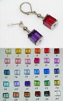 Ohrhänger Ohrstecker Würfel Cube Acryl Ausw. 30 Farbe Verschluss Auswahl  o04g