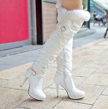 Women Leather warm fur trim knee thigh boots stiletto heel zip up High Heel shoe