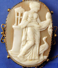 Carved Shell Cameo Brooch Greek Goddess Hera ! Rare Antique Solid 9ct W Gold
