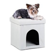 Relaxdays asiento con casa para mascotas hecho de cuero artificial Con(blanco)