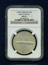 """GERMANY WEIMAR REP. 1930-F 5 REICHSMARK """"GRAF ZEPPELIN"""" COIN, CERTIFIED NGC MS63"""