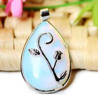 Teardrop Shaped Rainbow Fire Moonstone Gemstone Silver Flower Necklace Pendants