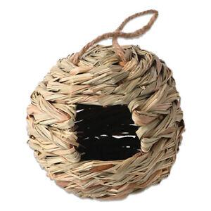 Natural Straw Bird Nest Hanging Handwoven Outdoor Breeding Round Birdhouse