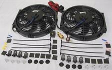 """Dual 10"""" S-Blade Electric Radiator Cooling Fans w/ Thermostat and Mounting Kit"""