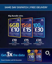 O2 Pay As You Go Sim Cards, Big Bundle Deal Unlimited Mins/Texts/ Data Rollover