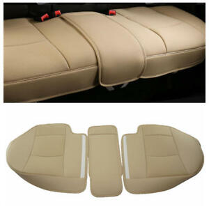 3D Car Rear Seat PU Leather Surround Car Seat Protector Rear Seat Cover Beige