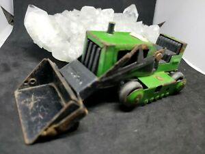 Vintage Mini Tonka Bulldozer Small Dozer Green/Black Pressed Steel Early 1970s