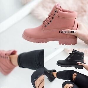 LADIES WINTER WARM COMBAT WOMENS LACE UP ANKLE GRIP SOLE WALKING TRAINERS BOOTS