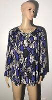 Investments Women's Plus Size 3X Blouse Animal Purple Gray 3/4 Sleeves Silky