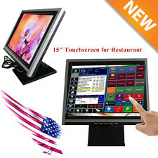 "2017 POS 15"" LCD Touch Screen LCD Touchscreen Monitor w/ POS Stand USB USA Stock"