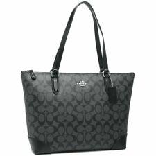 NWT Coach F29208 Zip Top Tote In Signature Canvas Handbag Black Smoke $275