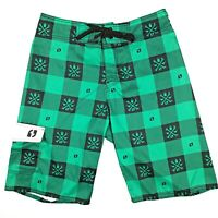 Suburban Men's Board Shorts Size 32 Boardies Green Black Checked Swimmers