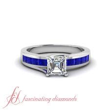 1.25 Ct Asscher Cut Diamond & Princess Sapphire Engagement Rings For Women GIA