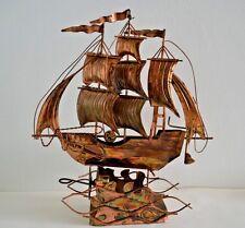 Vintage Copper Alloy Tin Metal Ship Moving Music Box ~ Hong Kong ~ Toyo Japan