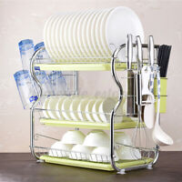 3-Tier Dish Drying Rack Drainer Holder Kitchen Storage Space Saver Shelves  US