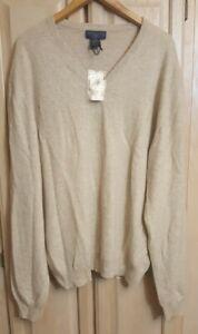 Joseph & Lyman Size XXL 100% Cashmere V-neck Sweater Beige MSRP $149.99