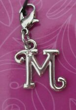 cc M INITIAL CHARM Cherish Charms with crystal