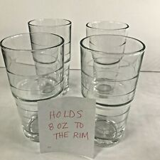 Lot of 4 IKEA SVEPA Tall Drinking Juice Glasses 6- 8 OZ Stackable Ringed 12144