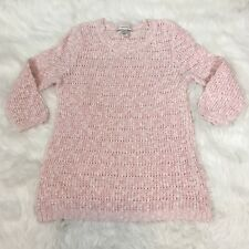Christopher & Banks Women's Sweater Size S Pink Chunky Open Knit