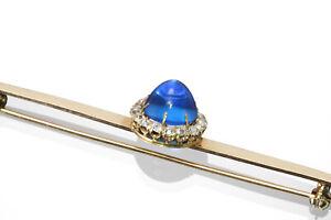 echte goldene Brosche 585 Gold antik 17 Altschliff-Diamanten 0,35ct Schmuck blau