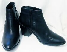 COUNTRY ROAD WOMENS MEDIUM HEELS BLACK LEATHER ANKLE BOOTS SIZE 40 OR 9