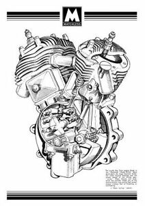 1935 Matchless 35/X4 engine cutaway poster
