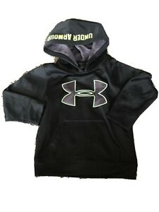 Unisex kids toddler size 4 hooded sweatershirt UNDER ARMOUR black & lime green