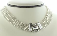 """Milor Italy 925 Sterling Silver 16mm Mesh Chain Double End Lock Necklace - 18"""""""