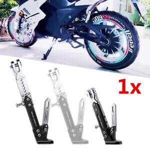 Universal Aluminum Motorcycle Side Stand Leg Kickstand Adjustable 10-60mm Black