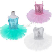 UK Kids Girls Lyrical Ballet Dance Dress Sequins Dancewear Ballerina Gym Leotard