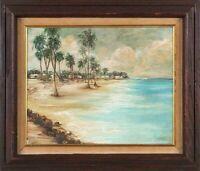Miguel Pou Becerra Attrb.(1880-1968) Puerto Rican Artist O/C of Arroyo Beach PR