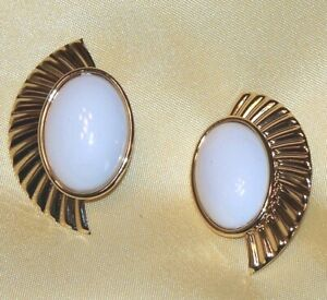 Vintage Big Designer Inspired 70's White Cabochon Ribbed Side Wings Earrings