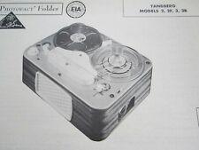 TANDBERG 2, 2F, 3, & 3B REEL to REEL TAPE RECORDER PHOTOFACT