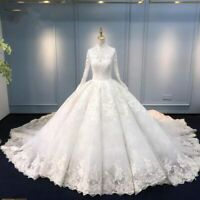 Wedding Dress Ball Gown High Neck Long Sleeve Lace Appliques Bridal Gown Custom