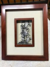 """Sea Turtle Wall Art. Wood, Pewter and Canvas. 10"""" x 12"""". Nice Piece"""