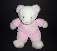 "15"" Russ Baby God Bless Our Little One Pink Bear Rattle Plush Stuffed Animal"
