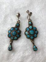 #696 Old Estate Vintage Zuni Earrings, Turquoise Multi Metal Turquoise, Sterling