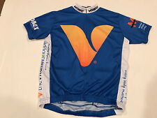 Verge mens cycling bike racing jersey vitamin shoppe cytomax s/s ¾ zip blue xs