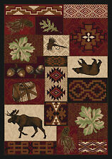 "AREA RUGS - ""COLDWATER RIDGE"" RUG - 3' X 4' - BEAR - MOOSE - LODGE - WOODLAND"