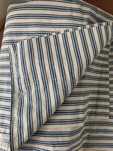 Ralph Lauren Claudine Blue Stripe Queen Flat Sheet FRENCH COUNTRY 100% Cotton
