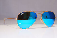 RAY-BAN Mens Polarized Mirror Sunglasses Pilot AVIATOR BLUE RB 3025 112/4L 24140