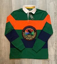 Polo Ralph Lauren Sportsman Patch Long Sleeve Rugby Shirt Colorblock Mens M L XL