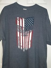 Gildan Freedom T-shirt 2XL Blue-Gray with USA Flag & Eagle