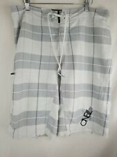 Nice! O'neill Epic Freak Board Shorts Size 34 Gray And White Design