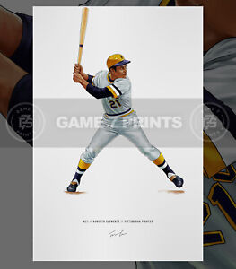 Roberto Clemente v2 Pittsburgh Pirates Baseball Illustrated Print Poster Art