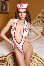 Sexy White Naughty Nurse One Piece Lingerie Outfit Uniform Body Thong