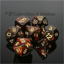 NEW 7pc Set Scarab Blue Blood w Gold RPG Dice D&D Game Chessex 7 piece D10 D20 +