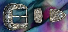 Western Cowboy Decor Silver Engraved Rope Buckle Set